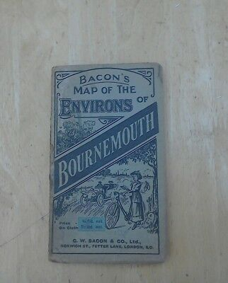Vintage Bacon's Map Of The Environs Of Bournemouth on cloth, good condition