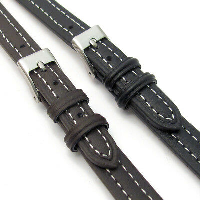 Lightly Padded XL Leather Watch Strap Contrast Stitched 12mm 14mm C010