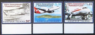2003 Norfolk Island Stamps - Centenary of Powered Flight - Set of 3 - Tabs MNH