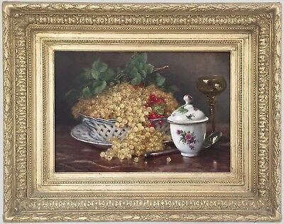 Still Life with Fruit Antique Oil Painting by Eugene Claude (French, 1841-1922)