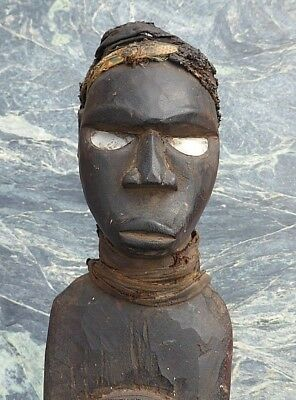 Large Heavy African Tribal Art Congo Power Figure Shell Eyes Magical Wrappings