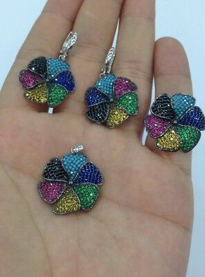 925 Sterling Silver Handmade Jewelry Micro Pave Multi Color Topaz Ladie's  Set