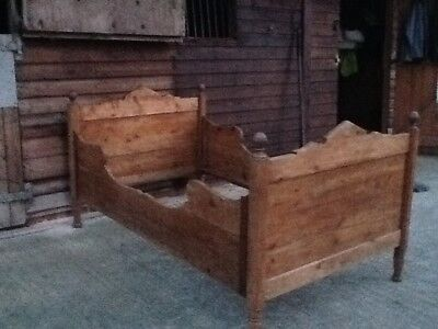 Antique Pine Sleigh Single Bed with Pine Slatted Base,180cms L,112 cms max W.,