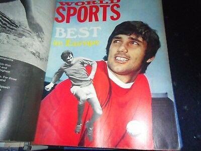 world sports 10 magazines + binder 1969 cup bobby moore george best graham hill