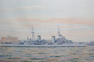 A Original Mid-20th Century Watercolour Painting of H.M.S.Royalist in Portsmouth