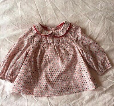 Baby Boden Pleat Detail Top 6-12 Months Pink With Polka Dots Just £7