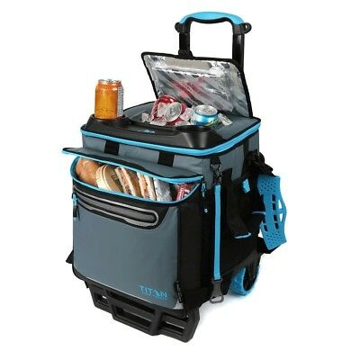 Titan 22.5 Litre 60 Can Rolling Cooler with All Terrain Cart Ice Bag Food