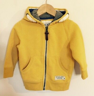 Baby Boys Next Ochre Mustard Yellow Zip Up Hoody Jacket Jumper 12-18 Months