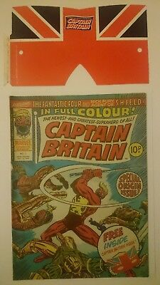 CAPTAIN BRITAIN # 1  WITH FREE MASK  1ST APP CAP BRITAIN MARVEL UK 13th OCT 1976