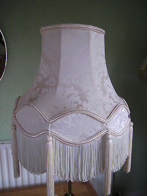 Vintage Damask Lined Ivory Table Lampshade Braid Looped Fringe and Tassels