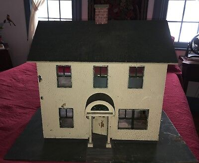 Antique C1910 Wooden Colonial Dollhouse Electrified All Original Nice Details