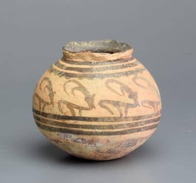 Indus Valley Nal Culture decorated pottery jar: Circa 2500-2000 BC.