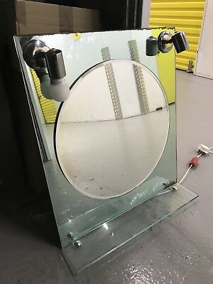 Art Deco Vanity Mirror And Shelf with Lamps