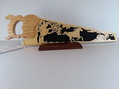 Handmade Wooden Decorative Saw with Horse scene.