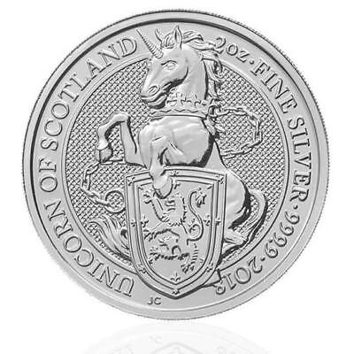 2018 - 2 oz Silver (PURE .999%) Coin -  Queens Beasts - Unicorn - Royal Mint UK.