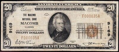 Nice 1929 $20 MACOMB, IL National Banknote! FREE SHIPPING! F000035A