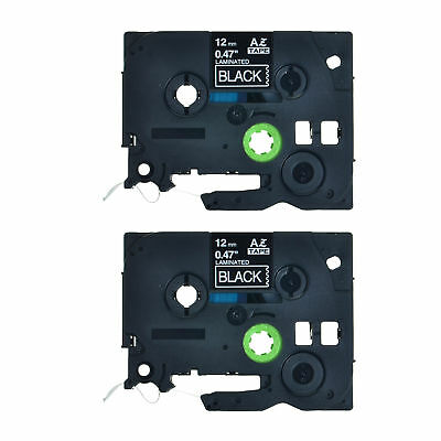 2PK 12mm White on Black Label Tape For Brother TZ TZe 335 Tze335 P-Touch