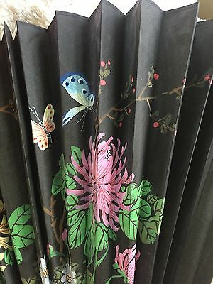 Vintage Large Asian Wall Fan Hand Painted Floral/Butterfly 72 Inches X 40 Inches