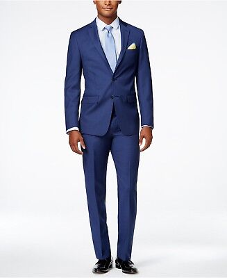 $849 CALVIN KLEIN Men Extreme Slim X Fit Wool Suit Blue 2 PIECE JACKET PANTS 44R