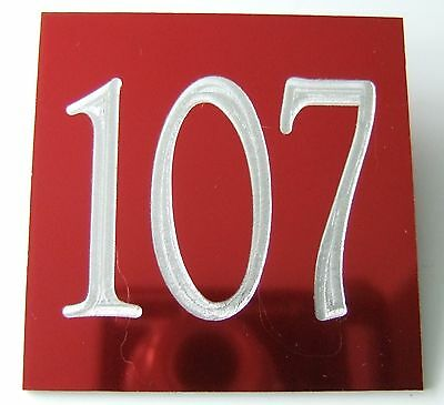 ENGRAVED ALUMINIUM DOOR NUMBERS / SIGNS - CUSTOM NUMBER / SIGN - 75x75mm