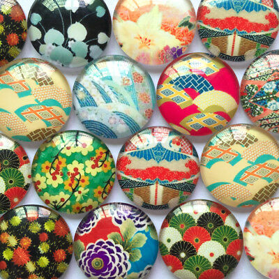 Handmade Glass Cabochons | Mixed Japanese Inspired Designs | Choice of Sizes