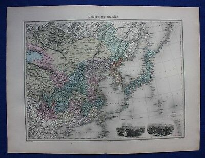 Original antique map CHINA, KOREA, JAPAN, 'CHINE ET COREE', Migeon 1891