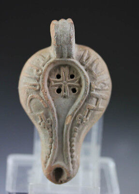 *SC* EXCEPTIONAL BYZANTINE POTTERY OIL LAMP w. CROSS & INSCRIPTION!!