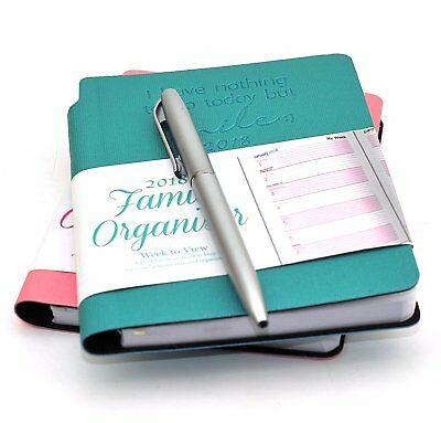2018 A5 Home Family Week to View Organiser Flexi Cover Diary With Pen Pink/Blue