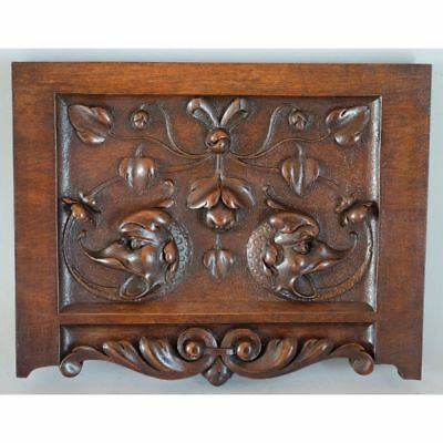 Stunning Antique French Carved Walnut Mythological Dragon Heads Salvaged Panel