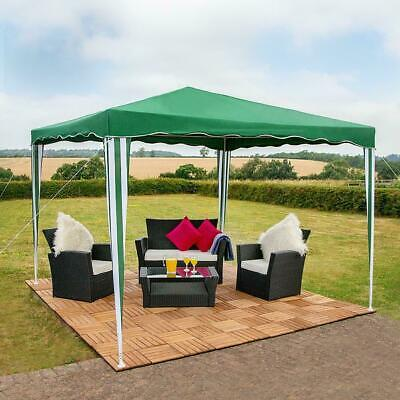 3 X 3M Gazebo Party Tent Green White Stripe Outdoor Garden Marquee Canopy Wido
