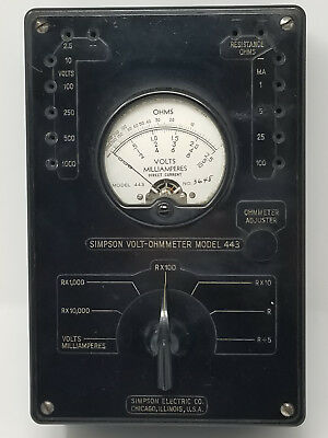 Simpson Volt ohmmeter model 443 fully tested WWII vintage