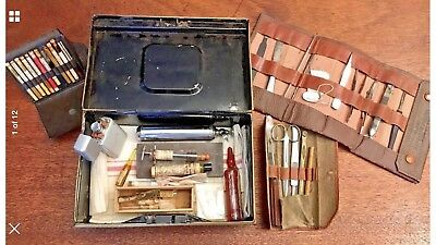 Antique Traveling Doctors Kit With Original Medication And Tools