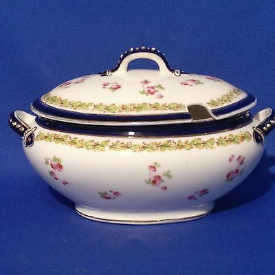 Antique GEORGE JONES & SONS - Anglo China - LIDDED SAUCE TUREEN - Pink Roses