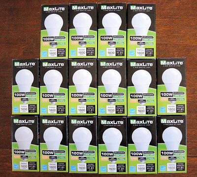 Lot Of 16 Non-DIMMABLE LED A19 100WReplace SOFT WHITE 2700K 15W Bulbs By Maxlite
