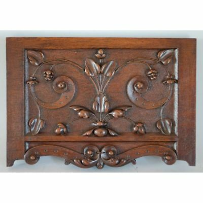 Antique Carved Walnut Renaissance style Floral Architectural Salvaged Panel