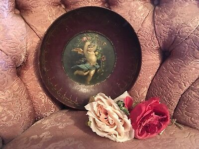 Antique French Papier-Mâché Bowl With Cherub Pink Roses 1800-1880s