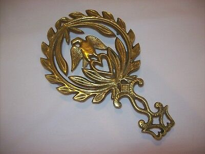"Vintage Solid Brass American Eagle Wreath Heart Footed 9"" Trivet Wall/Counter"