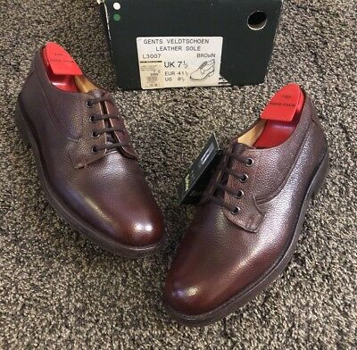 ~Cheaney For Barbour~'Veldtschoen' Pebble Grain Country Derby Shoes Brown Uk7.5