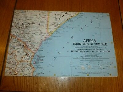 AFRICA COUNTRIES OF THE NILE - National Gegraphic MAP - ATLAS PLATE 56 Oct 1963