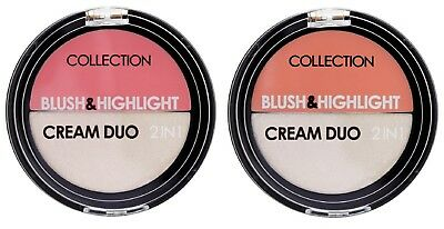 Collection Blush Highlight Duo Cream Blusher Highlighter Peach / Strawberry Pink