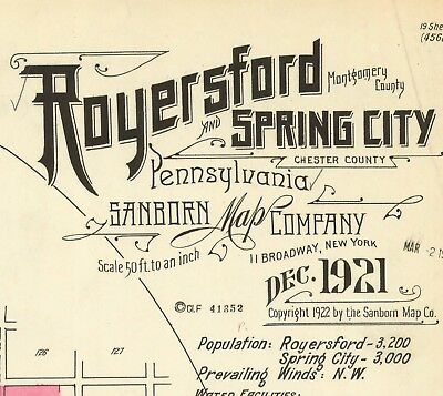 Royersford, Pennsylvania~Sanborn Map©~77 maps on CD~in  color ~1888 to 1928