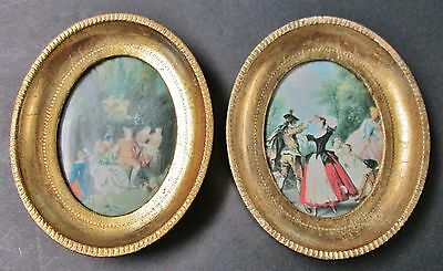 Pr Gilded Oval Frames Florentine Woodenware French Artwork Prints Made in Italy