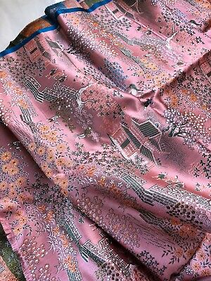 Vintage Chinese Silk Brocade Scenic Fabric Yards Pink Cherry Blossoms Horses