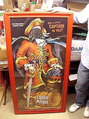 Rare Captain Morgan Rum Large Pirate Framed Store Display Sign W/ Mirror Face