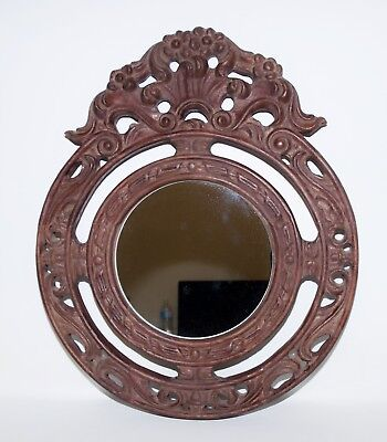 Vintage Large Round Mirror Hand Carved Wood Ornate Frame Floral
