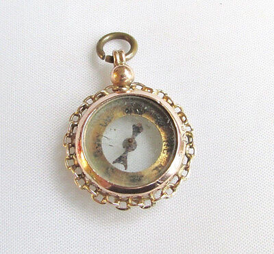 Old antique Edwardian 9ct gold fob pendant compass Chester hallmarks 1915-16