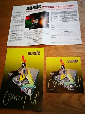 Rare Original Suede Promo Coming Up Sticker Postcard Nude Records 1996 + Advert