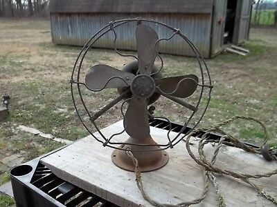Old GE General Electric Fan Brass Blade & Cage Alternating Current Dated 1914
