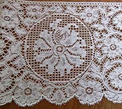 "Antique Lace Trim 36"" x 3 3/4"" Flowers Medallion Off White Scallop Edging"