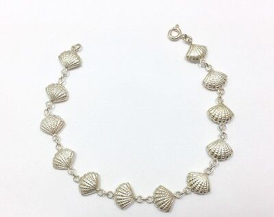Clam Sea Shell Bracelet Sterling Silver 7 1/2 Inch Seashell Nautical Beach 7....